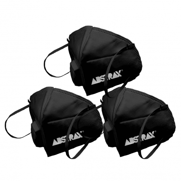 ABSTRAX® KN95 BLACK MASK WITH VALVE (SET OF 3) RESTOCK