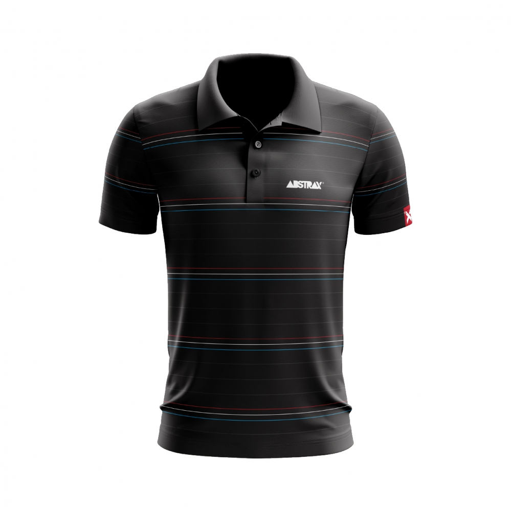 ABSTRAX 3TONE STRIPE POLO SOLID BLACK
