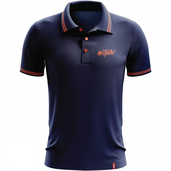ABSTRAX® Hyper-Letter 2020 Stripe Polo Shirt (Navy-Blue/Orange)