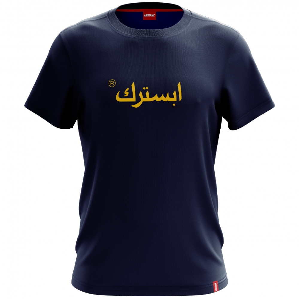 ABSTRAX JAWI SHORT-SLEEVE SHIRT (Navy Blue-Yellow)