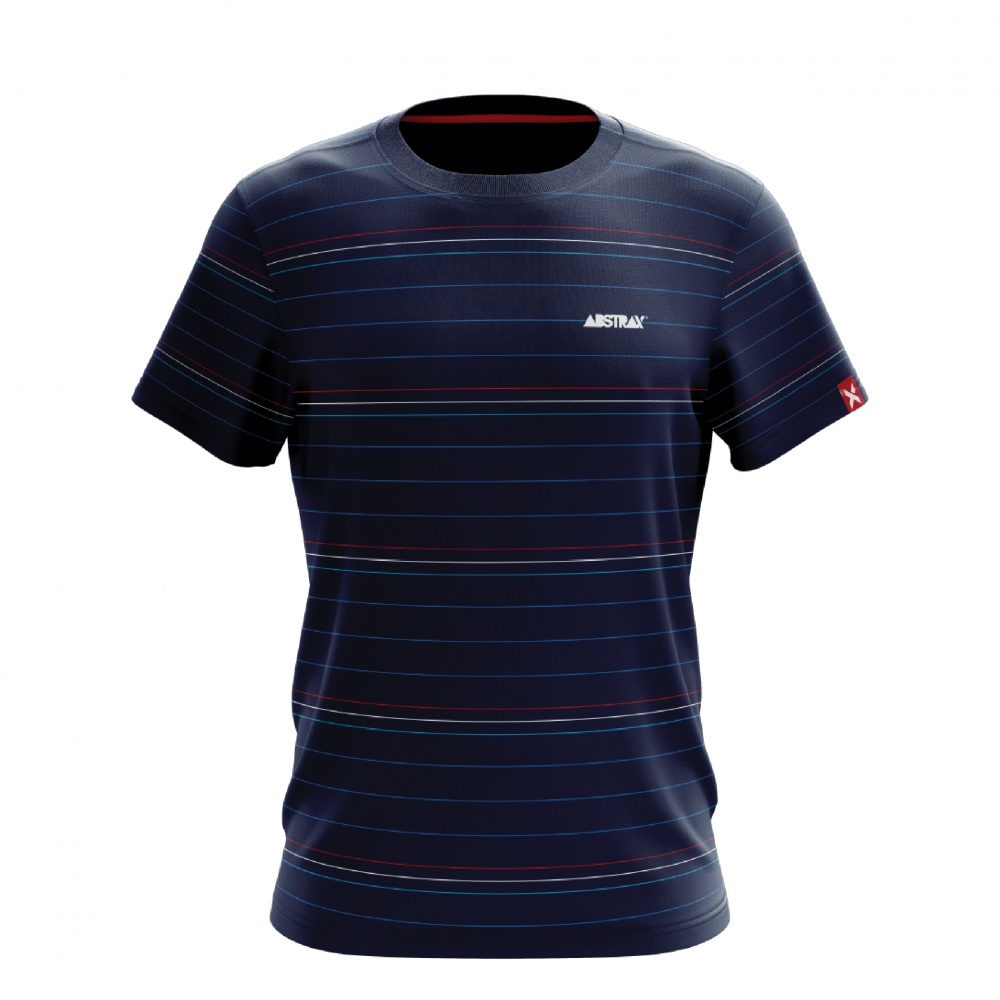ABSTRAX 3TONE STRIPE NAVY BLUE SHIRT (SHORT)