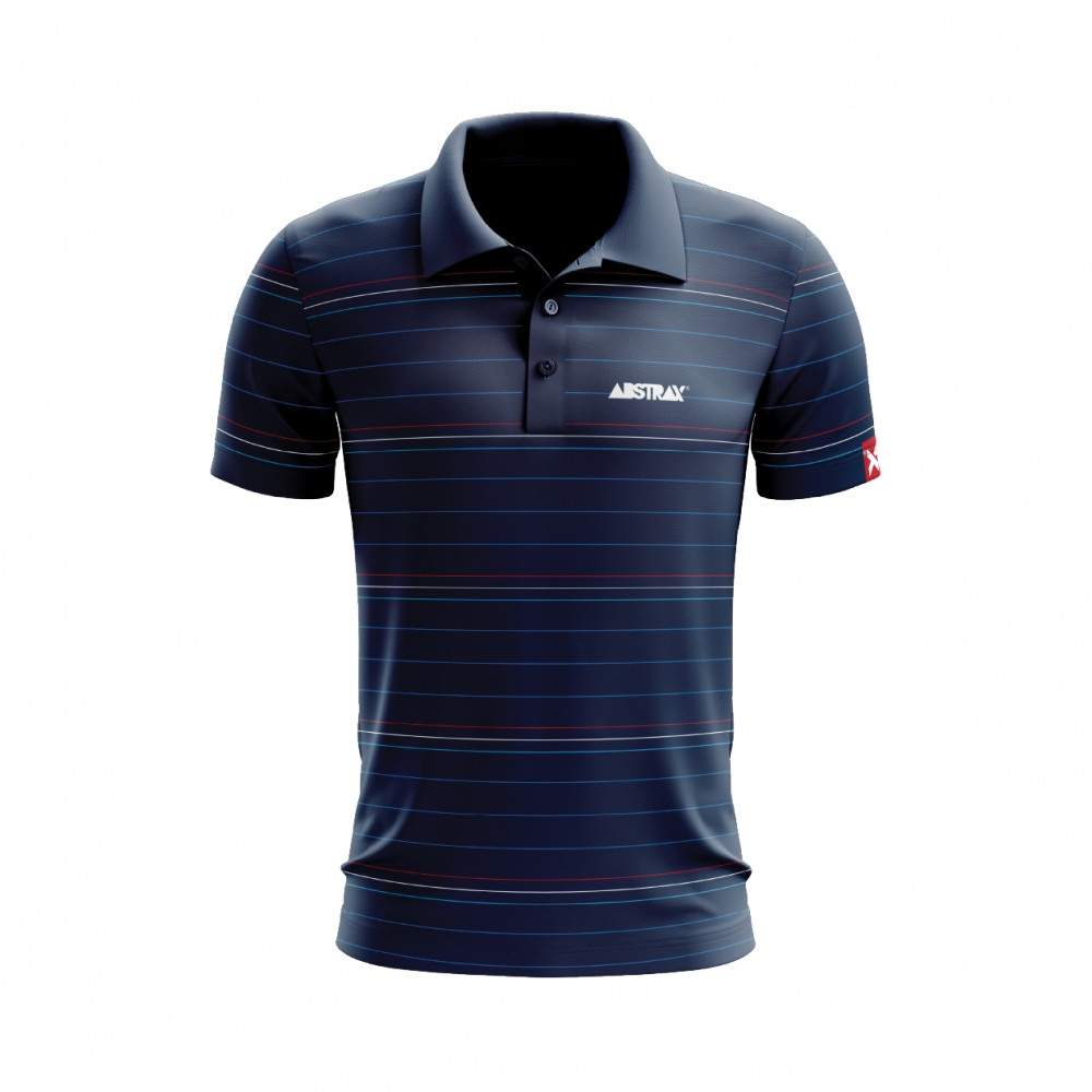 ABSTRAX 3TONE STRIPE POLO NAVY BLUE