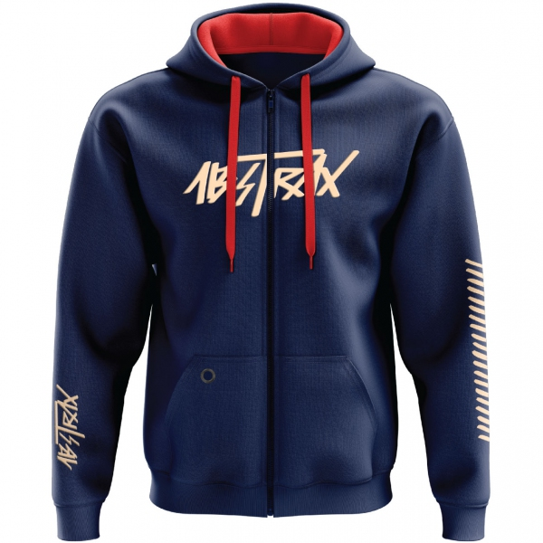ABSTRAX® HYPERLETTER NAVY-BLUE/BEIGE ZIPPER HOODIE (LIMITED EDITION) ( Medium )