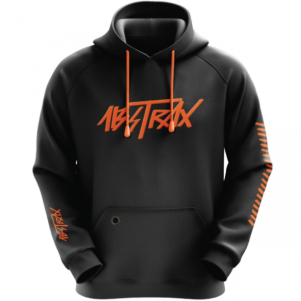 ABSTRAX® HYPERLETTER BLACK/ORANGE PULL-OVER HOODIE (LIMITED EDITION) ( Medium )