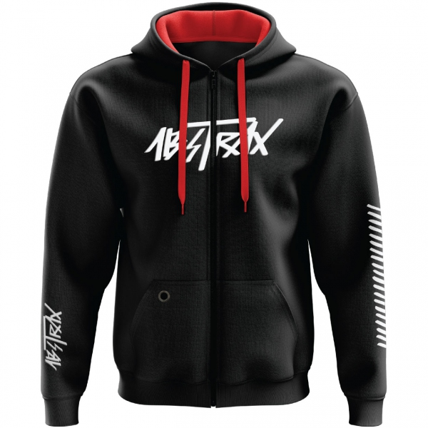 ABSTRAX® HYPERLETTER BLACK/WHITE ZIPPER HOODIE (LIMITED EDITION) ( Medium )