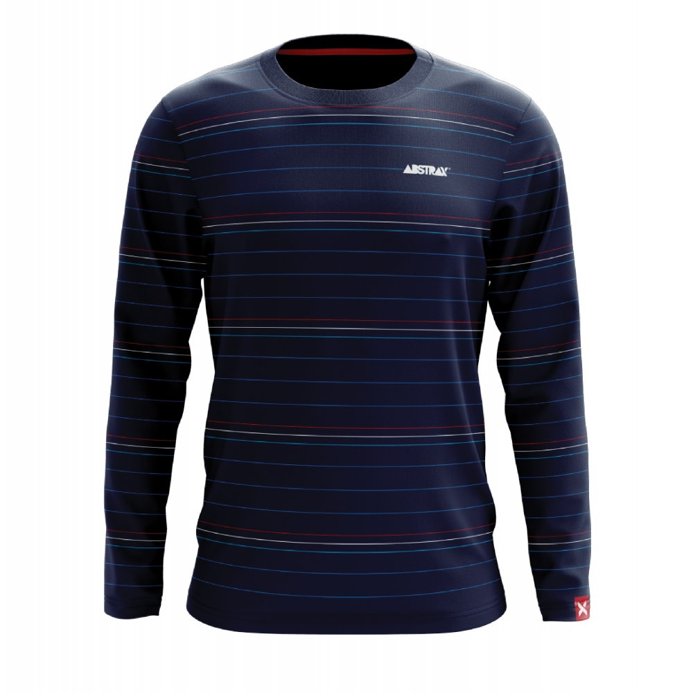 ABSTRAX 3TONE STRIPE NAVY BLUE SHIRT (LONG)