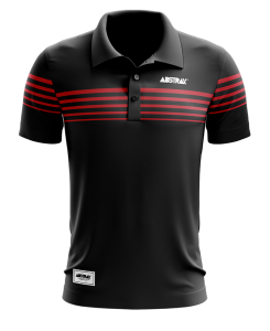 ABSTRAX #5TRIPES POLO SHIRT (BLACK)