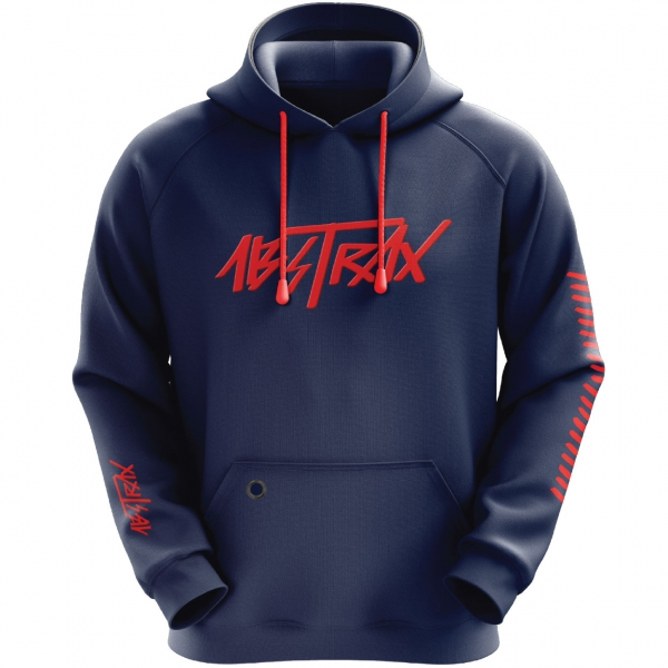 ABSTRAX® HYPERLETTER NAVY-BLUE/RED PULL-OVER HOODIE (LIMITED EDITION) ( Medium )